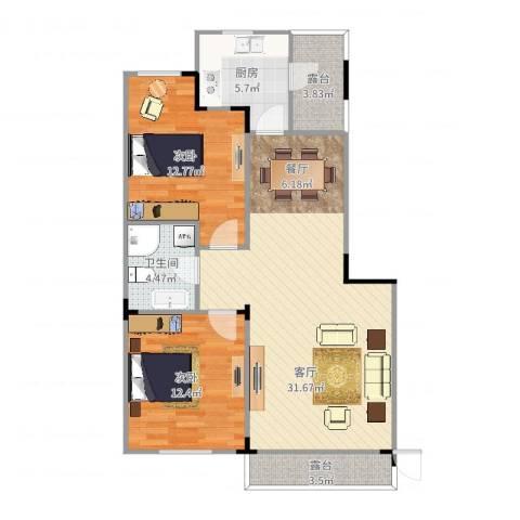 保利林语2室1厅1卫1厨87.00㎡户型图