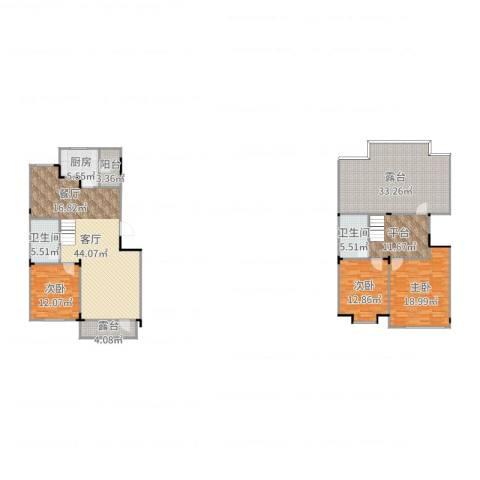 保利林语3室1厅2卫1厨145.00㎡户型图