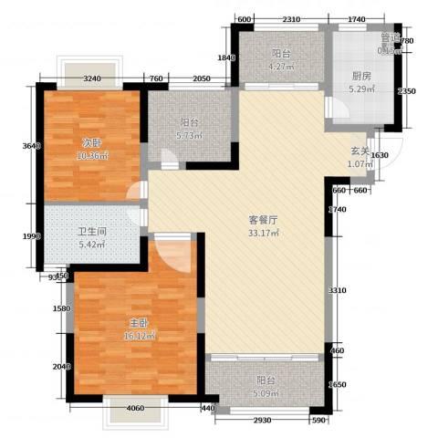 天鸿尹山湖韵佳苑2室2厅1卫1厨107.00㎡户型图