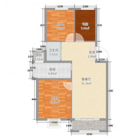 世纪绿城3室2厅1卫1厨99.00㎡户型图