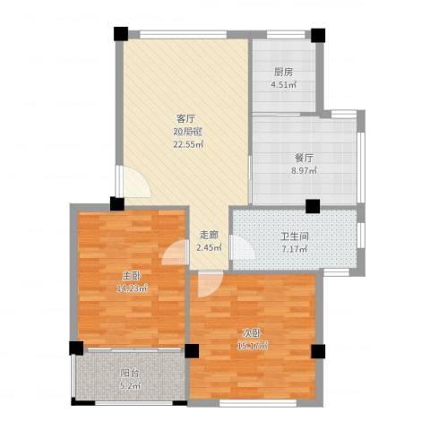 四季康城2室1厅1卫1厨97.00㎡户型图