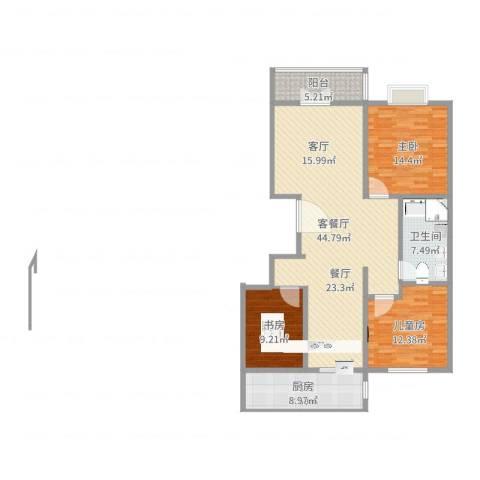 阳光花园3室2厅1卫1厨128.00㎡户型图