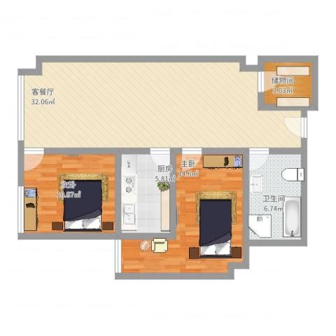 金座威尼谷2室2厅1卫1厨105.00㎡户型图