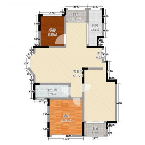 温莎玫瑰公馆2室2厅1卫1厨128.00㎡户型图