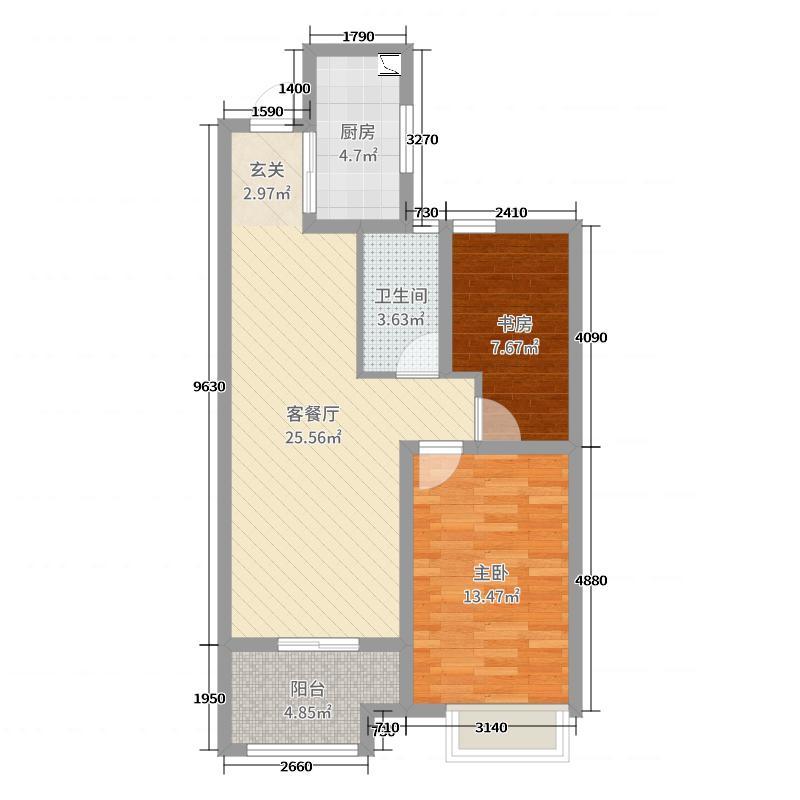 东鼎名人府邸74.83㎡A户型2室2厅1卫1厨
