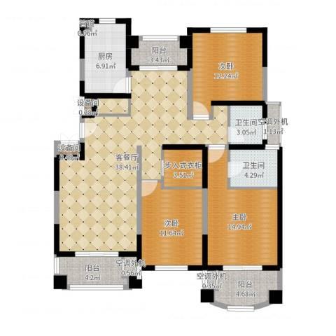 宝宸怡景园3室2厅2卫1厨138.00㎡户型图