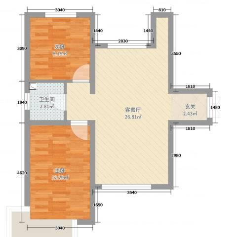 新希望乐城2室2厅1卫0厨75.00㎡户型图