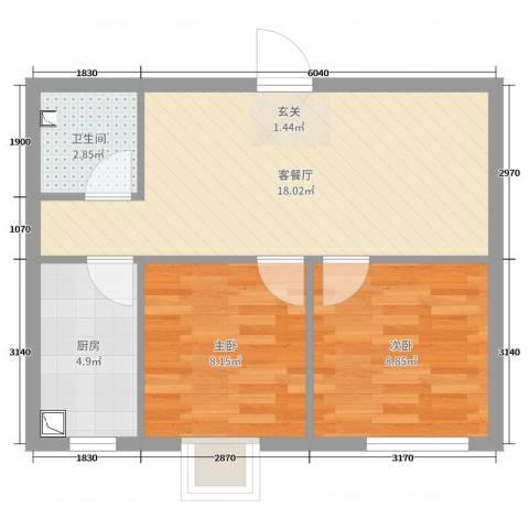 新希望乐城2室2厅1卫1厨66.00㎡户型图