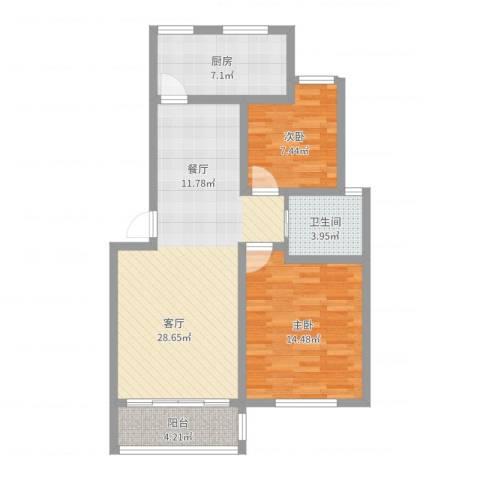 证大家园四期2室1厅1卫1厨82.00㎡户型图