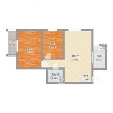 燕丰园2室2厅1卫1厨76.00㎡户型图