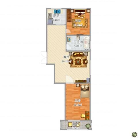 佳木斯西郊华城2室1厅1卫1厨74.00㎡户型图