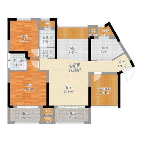 中航山水蓝天2室2厅2卫1厨115.00㎡户型图