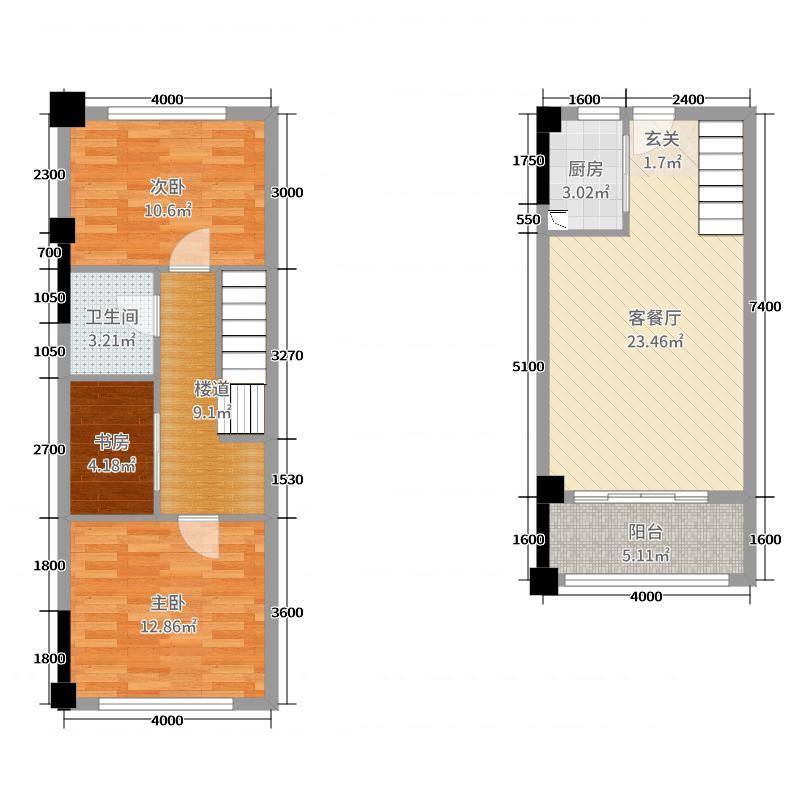 顺祥花园68.20㎡A1户型3室3厅1卫1厨