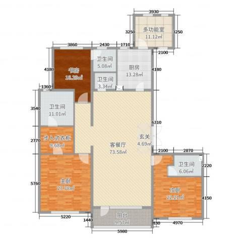 万达海公馆3室2厅4卫1厨260.00㎡户型图