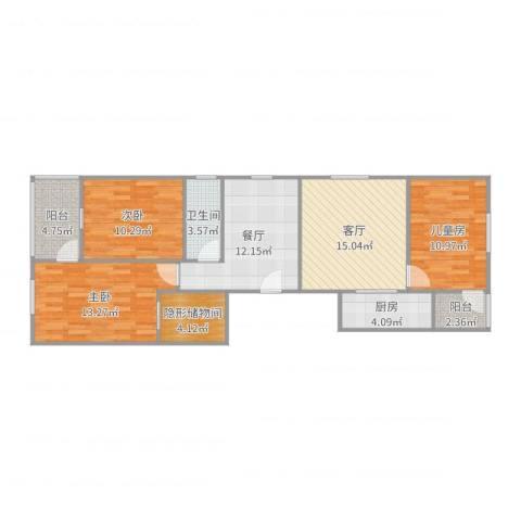 泰地世锦园3室2厅1卫1厨101.00㎡户型图