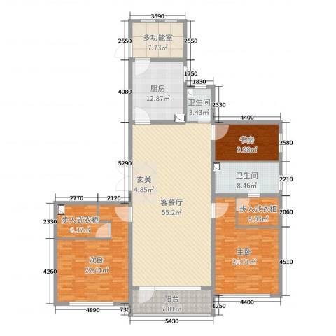 万达海公馆3室2厅2卫1厨200.00㎡户型图