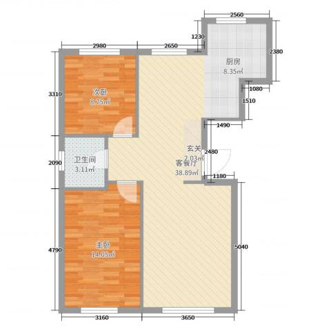 翠岛经典四期悦府2室2厅1卫0厨81.00㎡户型图
