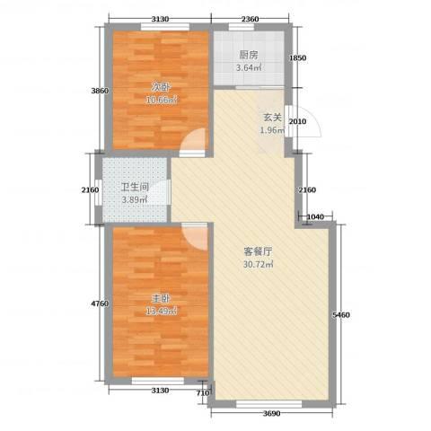 翠岛经典四期悦府2室2厅1卫1厨78.00㎡户型图