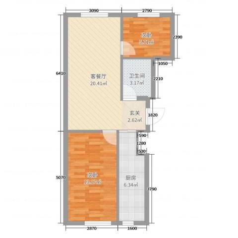 翠岛经典四期悦府2室2厅1卫1厨61.00㎡户型图