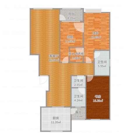 领秀庄园3室2厅3卫1厨158.00㎡户型图