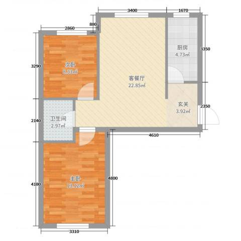 翠岛经典四期悦府2室2厅1卫1厨65.00㎡户型图
