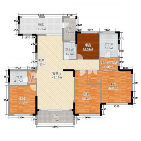 金地澜悦5室2厅3卫1厨180.00㎡户型图