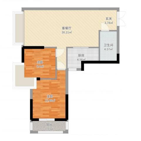 新时代2室2厅1卫1厨79.00㎡户型图