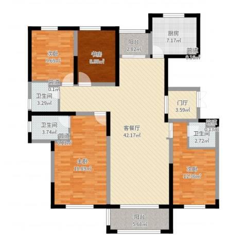 东方米兰国际城4室2厅7卫1厨152.00㎡户型图