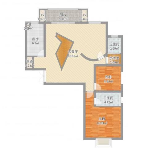 港岛玫瑰园2室2厅2卫1厨115.00㎡户型图