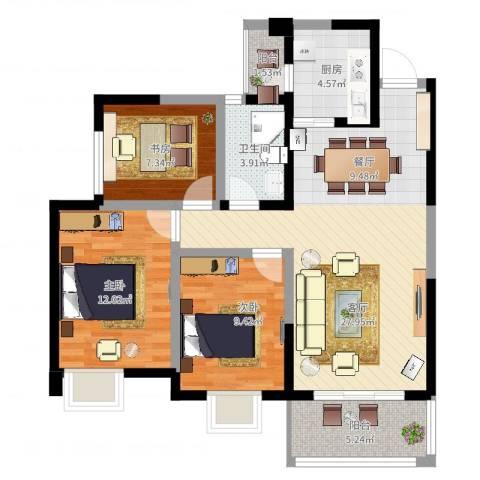 香榭国际3室1厅1卫1厨105.00㎡户型图