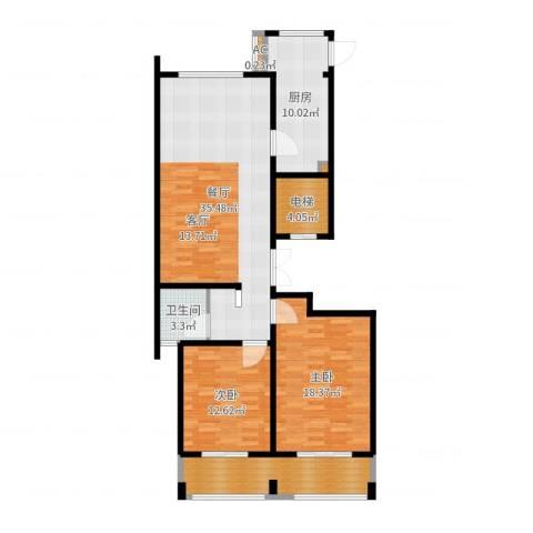 乌桥水岸花园2室1厅1卫1厨117.00㎡户型图