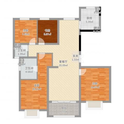 绿洲康城亲水湾雅颂4室2厅2卫1厨123.00㎡户型图