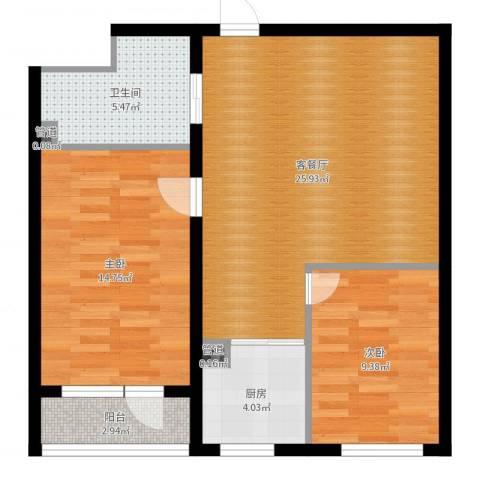 万嘉国际2室2厅1卫1厨78.00㎡户型图