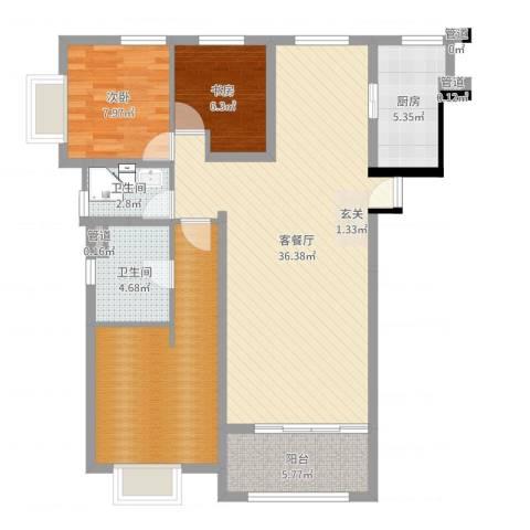 绿洲康城亲水湾雅颂2室2厅2卫1厨105.00㎡户型图