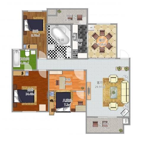 城西港安置小区4室2厅2卫1厨134.00㎡户型图