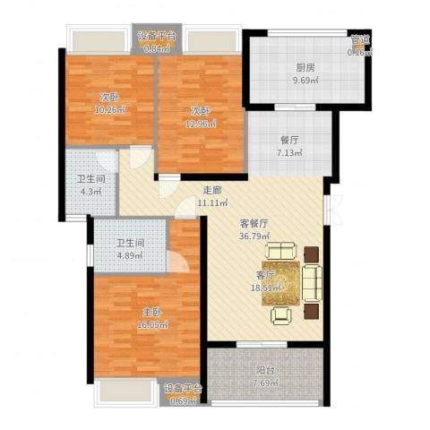 中都沁园3室2厅2卫1厨130.00㎡户型图