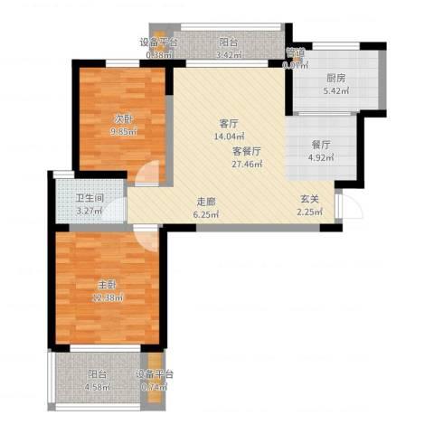 桃苑红杉郡2室2厅4卫1厨84.00㎡户型图