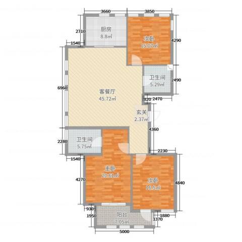 赛格特东城名苑3室2厅2卫1厨156.00㎡户型图