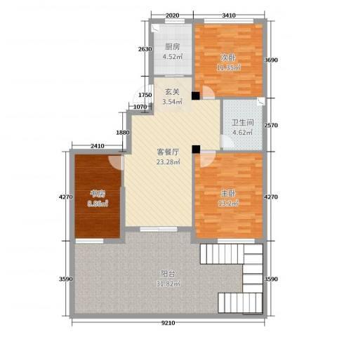 赛格特东城名苑3室2厅1卫1厨122.00㎡户型图