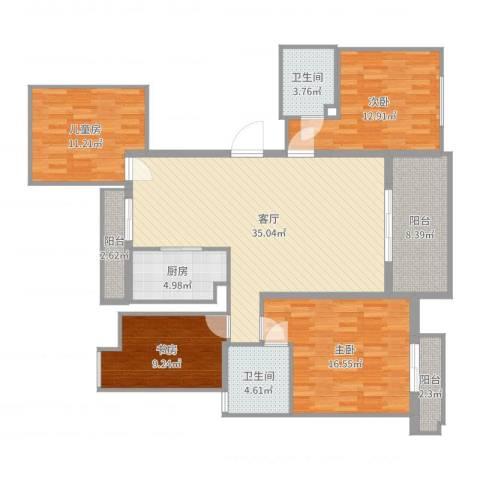 中大简界4室1厅2卫1厨140.00㎡户型图