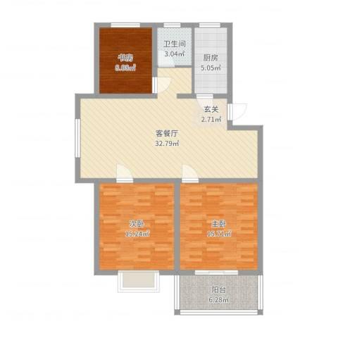 多瑙河国际公寓3室2厅1卫1厨97.87㎡户型图