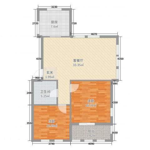 赛格特东城名苑2室2厅1卫1厨99.00㎡户型图