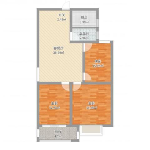 玖玺3室2厅1卫1厨95.00㎡户型图