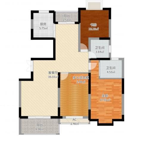中央花园2室2厅2卫1厨127.00㎡户型图