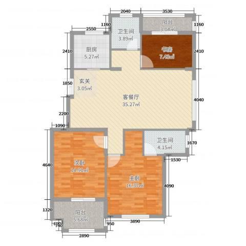 兆通悦府3室2厅2卫1厨120.00㎡户型图