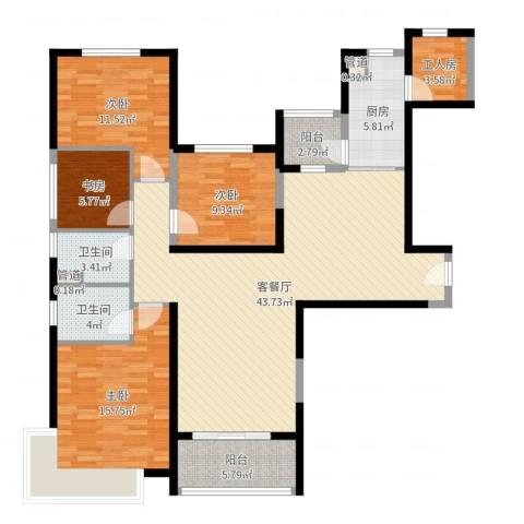 新余恒大城4室2厅2卫1厨140.00㎡户型图