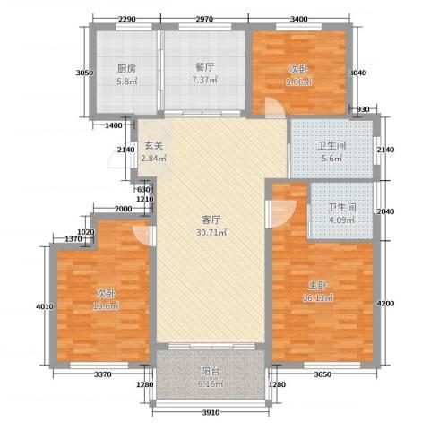 圣汐澜山3室2厅2卫1厨123.00㎡户型图