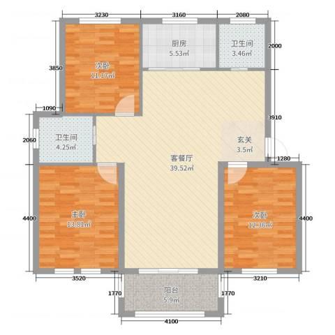 圣汐澜山3室2厅2卫1厨120.00㎡户型图