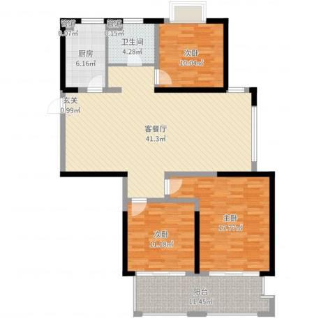 盛和花半里3室2厅1卫1厨128.00㎡户型图