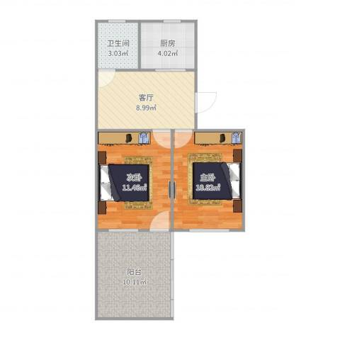 宏葑二村2室1厅1卫1厨61.00㎡户型图